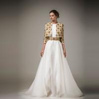 wulstjacken zum abend großhandel-Ashi Studio 2016 Abendkleider Gold-wulstige Jacke mit langen Ärmeln A-Linie Abendkleider bodenlangen Chiffon-formale Partei-Kleider Nach Maß