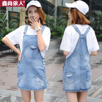 Wholesale Cute Women Jumpsuits - Summer Women Loose Jumpsuit Cute Sweet Washed Jeans Romper Overall Female Short Denim Jumpsuirts For Woman