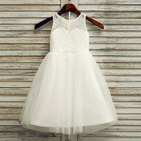 Wholesale Sweetheart Neckline Flower Girl Dresses - 2016 Nice Flower Girls Dresses Scoop Neckline Handmade Flowers Kids Wears For Communion Wedding Girls Long Dress