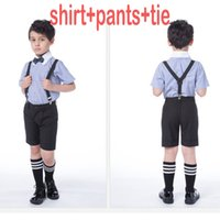 Wholesale Resell Hot - New arrival Boys short-sleeved shirt dress overalls suit flower girl dresses With Tie hot sale for reselling