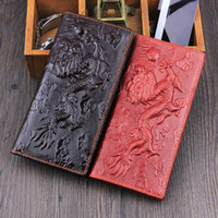 Wholesale Wholesale Leather Purses China - Wholesale- China dragon New 3D 2016 men Long Wallets Genuine Leather Embossed vintage Design famous brand Female women Wallet Clutch Purse