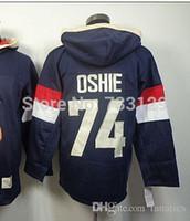 Wholesale Usa Olympic Sweatshirt - 2017 cheap Olympic 74 Tj oshie USA Hoodies Blue ice Hockey T. J. Oshie USA Sweatshirts hoodie Jersey Stitched Top Quality