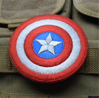 Wholesale Captain America Badge - 3.15 inch Captain America Embroidered patch with magic stick Tactical 3D PVC Patches The Avengers Badges Fabric Armband Military VP-14