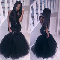 Wholesale Long Black Sequin Dresses - Little black sparkling sequins backless prom dresses mermaid long floor tulle trumpet dresses evening wear 2018