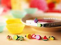 Wholesale Ear Cap For Cellphone - 2016 new PVC soft plastic Cute Fruit Dustproof Ear Cap Anti Dust Plug Stopper for iphone 6 5s cellphone iphone6 ipad samsung galaxy s6