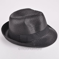 Wholesale Wholesale Mens Straw Hats - Wholesale-New 2016 fashion mens womens Unisex solid straw sun hat Fedora Trilby Gangster Cap Summer Beach couple hat
