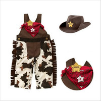 Wholesale 18 24 Months Costume - Baby cowboy romper costume infant toddler boy girl clothing set 3pcs hat +scarf +romper halloween purim event birthday outfits