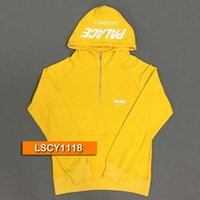 Wholesale Hoody Custom - Free Shipping 2017 17AW AUTUMN Palace Skateboards CUSTOM 1 4 ZIP HOOD Pullover Hoodies & Sweatshirts Fleeces Hoody Cotton Blue Yellow