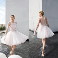 Wholesale Two Piece Halter Wedding Dresses - 2017 Stunning Knee Length Wedding Dresses Country Illusion Back Halter Sleeveless Lace Appliques Crop Top Two Pieces Bridal Gowns Tulle