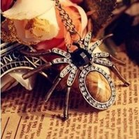 Wholesale Spider Lucite - Pendant Necklace for women girls 2016 vintage pendant paris Gifts crystal jewelry cute pendant Spider Style fashion suspension necklaces