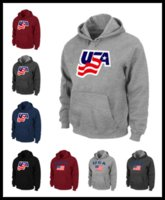 Wholesale Usa Flag Watch - Epacket Men USA icehockey sweatshirts national team warm Pullover clothing brown red wine black Mens watching game flag hoodie M-XXXL