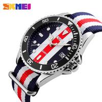 Wholesale Colour Strap Watches - SKMEI Lovers Watches Men And Women Fashion Casual Watch Nylon Strap 30M Waterproof Multiple Colour Quartz Wristwatches Quartz Watches Clock