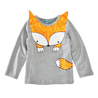 Wholesale Children Clothing Wholesale Prices - Ins Girl's T-shirt Long sleeve Cute Fox Boys Tops 2017 Autumn Spring Children clothing Cheap price Wholesale