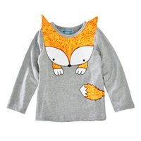 Ins Girl's T-shirt Long Sleeve Cute Fox Boys Tops 2017 Autumn Spring Vêtements enfants Cheap price Wholesale