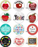 Wholesale Zodiac Coins - Free shipping HAPPY TEACHER DAY glass Snap button Charm Popper for Snap Jewelry good quality 12pcs   lot Gl371 jewelry making