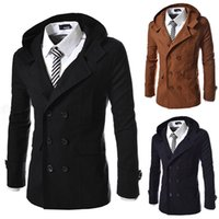 mens stylish winter trench coat 2018 - Wool Hoodies Mens Trench Brief British Slim Stylish Long Pea Overcoat Trench Double Breasted Solid Casual Winter Trench Coat For Men J160912