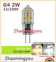 Wholesale G4 Led Bulb 2w Cree - G4 AC 12V 220V 2W LED Corn Bulb Lamp SMD2835 Bombillas Ultra Bright spotlight Chandelier Lights Ceramic High Transmittance