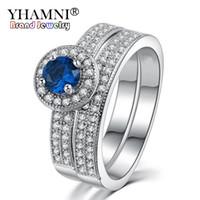 Wholesale Natural Diamond Ring Ct - YHAMNI Original Natural 100% 925 Silver Rings for Women Set Top 1 ct 6mm Blue Gem CZ Diamond Wedding Rings Fine Jewelry R007