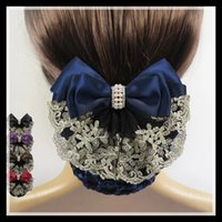 Wholesale Womens Hair Bows - Wholesale- HOT SALE !! 2015 New arrival Womens Hot Fashion lace Bow Barrette Hair Clip With Snood Net Bun Cover 3 Colors Free Shipping!