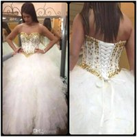 Wholesale Beautiful Bones - 2018 Beautiful Ruffles Quinceanera Dresses Beaded Gold Crystal Sweetheart Beaded Crystals Sweet 16 Ball Gown Lace Up Back Prom Pageant Gowns