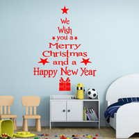 Wholesale Christmas Tree Wall Decor Sticker - Creative DIY Christmas Decoration Blessed Christmas tree Painting wall sticker Carved Gift Removable Windows art Sticker pvc Decor Wholesale
