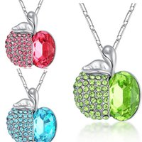 Wholesale Kids Rhinestone Pendants - Crystal Apple Necklace Blue Green Diamond Apple Pendant Silver Chain Christmas Eve Jewelry for Women Kids Christmas Gift 162451
