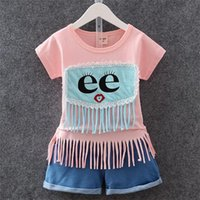 Wholesale G Wholesale Kids Clothing - Children Set 2 Colors Kids Suit Outfits Summer Girl E Eyes Fringed T-Shirts + Short 2 pcs Kid Cotton Clothes Kids Clothing g B028