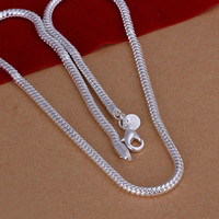ingrosso catena di serpente d'argento dei monili-Alta qualità 4mm 925 Sterling Silver Snake Chain Necklace 20