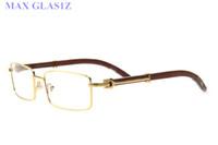 óculos únicos venda por atacado-Popular marca mulheres designer de madeira quadrada óculos de sol dos homens retângulo exclusivo escudo UV400 óculos vintage armações completas para as mulheres com caixa