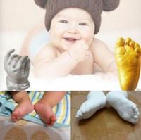 andenken geschenke großhandel-3D Andenken Hochwertige 3D Gips Handabdrücke Fußabdrücke Baby Hand Fuß Casting Mini Kit Andenken Geschenke CCA7220 10set