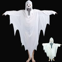 Wholesale halloween costumes for sale - 2017 New Hot Halloween Cosplay Party Ghost Unisex Suit Human White Pattern Costume Halloween Scare Performance Clothes Wear Suit Adults