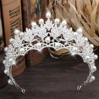 Hot Sale Cheap 2018 Wedding Bridal Tiaras&Crowns Faux Pearls Rhinestone Luxury Bride Headpieces Jewelry High Quality Hair Accessories