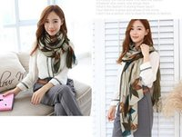 Wholesale Silk Chiffon Scarves For Autumn - 2016 New design classic mult color feather printing scarf autumn wraps for women winter warm scarf shawl