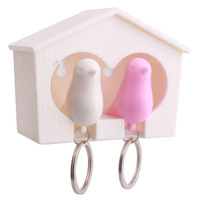 Wholesale Wholesale Bird Keychain Birdhouse - Wholesale-1set New Key Chain Lover Sparrow Birdhouse Keychain Home Wall Hook Bird Nest Holder Key Ring Gift 9.4*4.4*6.4cm DP874233