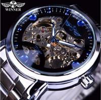 vigilancia del océano de lujo al por mayor-Ganador Azul Océano Moda Casual Diseñador Hombres Reloj de acero inoxidable Reloj esqueleto Relojes para hombre de primeras marcas de lujo Reloj automático Reloj
