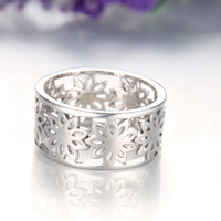 [Maple Leaf] Rose Gold Silver Color Personalidad Patrón de flor Hollow Elegance Beautiful Ladies Ring en Wholesale