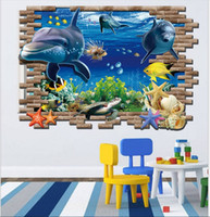 Wholesale marines stickers - 3D Cartoon Finding Dory Wall Stickers Home Decor 3D Marine Underwater World For Kids Room Wall Stickers Christmas Birthday Gift For Children