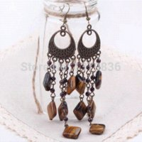 garnet earrings cheap achat en gros de-Style de Tiger Vintage Design Longue Pierre Eye et Garnet Boucles d'oreilles Dangle Boucles d'oreilles pas cher Boucles d'oreilles