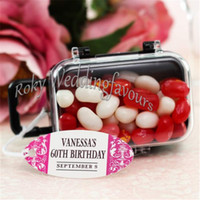 Wholesale Bridal Shower Party Favors Wholesale - FREE SHIPPING 30PCS Acrylic Clear Mini Rolling Travel Suitcase Favor Box Baby Shower Kids Partys Candy Package Bridal Shower Favors