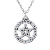 Wholesale Large Antique Pendant - Alloy Religious Necklaces Series Antique Silver Plated Large Rune Pentacle Pendant Necklace for Man and Woman