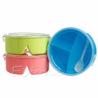 Wholesale A96 Portable Plastic Round Microwave Lunch Box Bento Picnic Food Container Storage Spoon Dinnerware Sets
