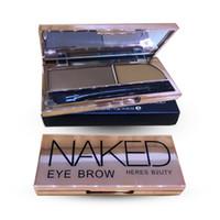 Wholesale Eye Brow Wax - Wholesale-HERES B2UTY BRAND Professional Eye Shadow Eye Brow Makeup 2 Color Eyebrow Powder + Eyebrow Wax Palette + Brush Instruction 1PCS