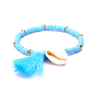 Wholesale Elastic Shell Bracelets - Wholesale-National Style Tassel Shell Bracelets & Bangles Blue Polymer Clay CCB Elastic Charm Bracelet for Women Men Jewelry free shipping