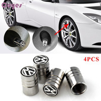 Wholesale Cars Tyres - Car Accessories Wheel Tire Valves Tyre Stem Air Caps Cover case For Volkswagen vw polo passat b5 b6 Car Styling 4PCS LOT