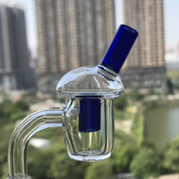 Wholesale Grind Glass - 4mm Thickness 20mm OD Flat Top Quartz Banger Ground Joint Banger Nail with glass bubble carb cap For Oil Rigs Glass Bongs