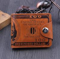 Wholesale Leather Bifold Money Clip Wallet - Dollar Bill Leather Bifold Card Holder Wallet Purse card holders wallets High Quality Men Money Clip KKA2503
