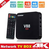 Wholesale Iptv Set Top Box Hd - V88 Android TV Box RK3229 4K 1G 8G Quad Core WiFi HDMI Set-top Smart Boxes Full Loaded Support 3D Free Movies DHL iptv