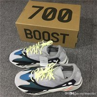 Wholesale Wholesale Chalk - Kanye West Wave Runner 700 Running Shoes 700 Boost Solid Grey Chalk White Core Black Fashion Casual Sports Sneakers