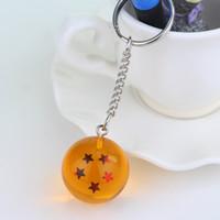 Wholesale Dragon Ball Z Stars - 2.5cm Dragon Ball Z 7 Stars Crystal Balls Keychain Pendant Keyring 1 2 3 4 5 6 7 star Christmas gifts 7pcs lot ZD025C