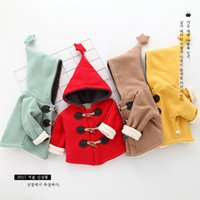 Wholesale Baby Hat Horn - 4 color Classic New arrival Korean style Autumn and winter the baby pointed hat long sleeved Ox horn button high quality cotton cardigan